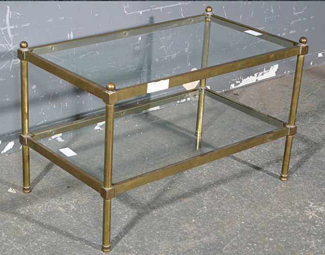 Superior RARE BAGUES TUBULAR BRASS GLASS COFFEE TABLE RARE SIZE   For Sale