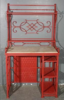 Great French Wrought Iron Bakers Rack Utility Station For