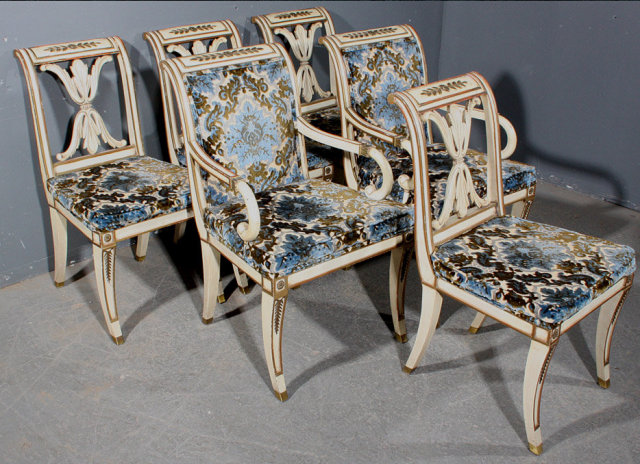 Great Set 6 French Empire Style Painted Dining Chairs For Sale