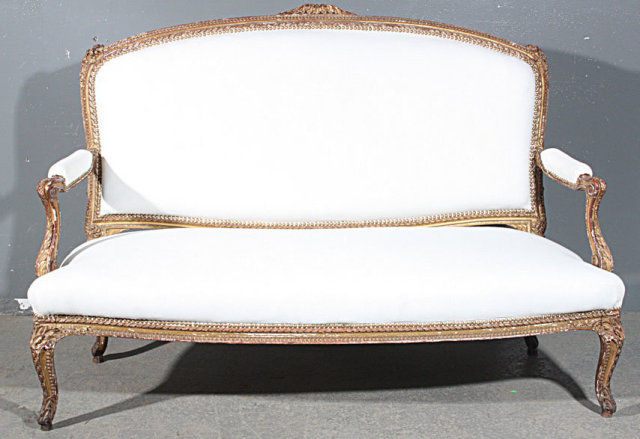 Best french carved louis xv gilded settee canape sofa for for Louis xv canape sofa
