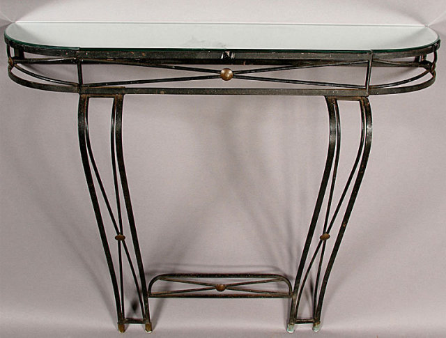 great french wrought iron art deco console table for sale