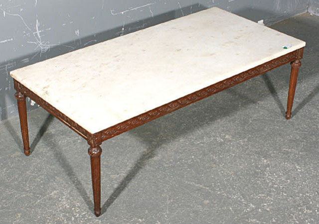 LARGE FRENCH WALNUT RECTANGULAR MARBLE COFFEE TABLE For Sale - Walnut and marble coffee table