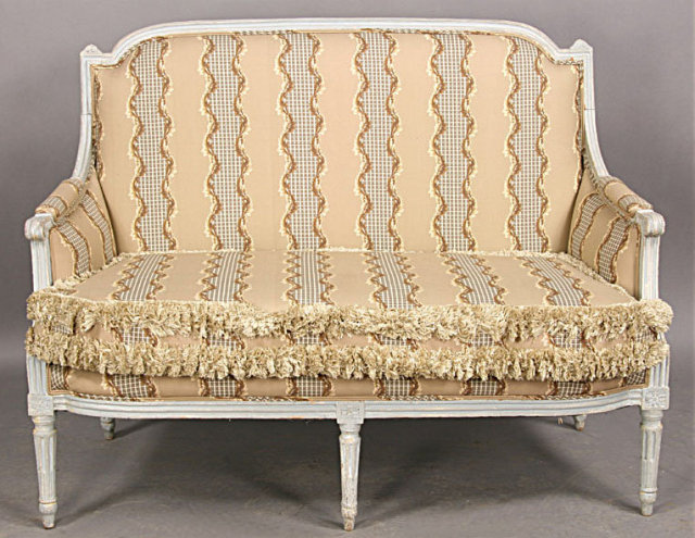 This is a superb French Louis XVI style canape settee  Look at the  especially sophisticated form and finish of the older gray laquer RARE FRENCH LOUIS XVI PAINTED SETTEE CANAPE SOFA C1910 For Sale  . Louis Xvi Style Furniture For Sale. Home Design Ideas