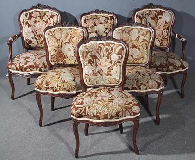 RARE 6 FRENCH WALNUT LOUIS TAPESTRY CHAIRS W ARMS C1900   For Sale