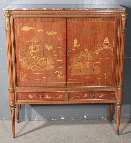 This Is A Fantastic French Inlaid Walnut Chinoiserie Bar Cabinet One Of Kind Look At The Inlay Mythical Chinese Scenery And Notice Too Gorgeous
