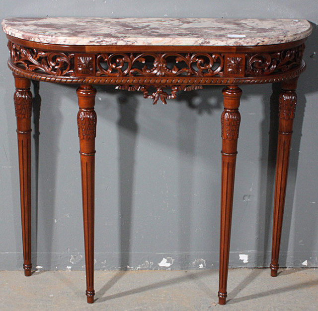 Small Foyer Tables Sale : Rare small size french carved walnut console table for