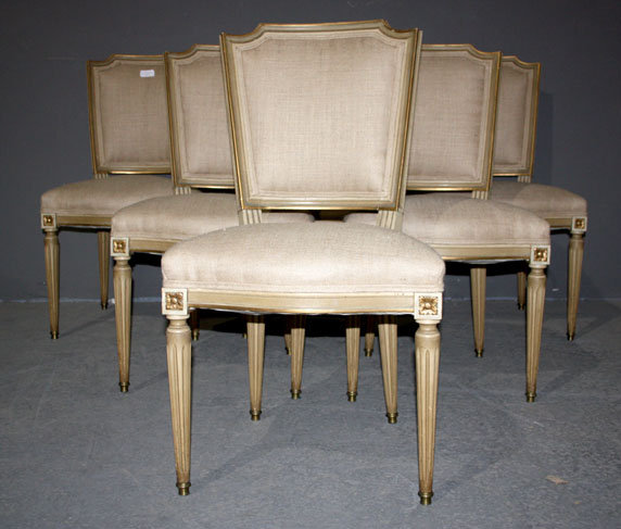 SET OF 6 FRENCH LOUIS XVI PAINTED DINING BURLAP CHAIRS - For Sale - SET OF 6 FRENCH LOUIS XVI PAINTED DINING BURLAP CHAIRS For Sale