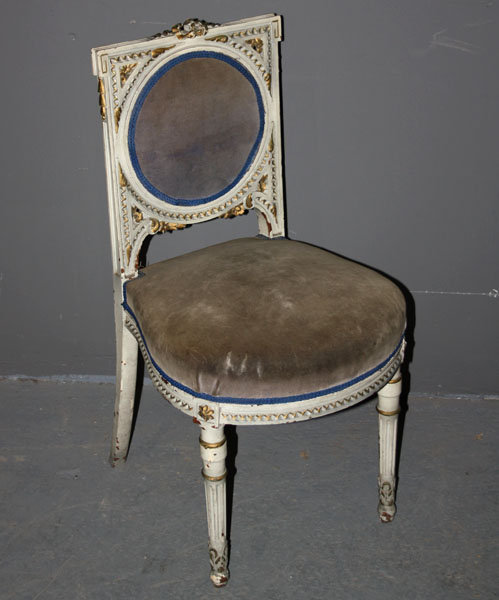 Today we offer you a great French Louis XVI Painted Boudoir Chair. This  piece will make an excellent decorative or slipper chair. - PAINTED FRENCH LOUIS XVI BOUDOIR SLIPPER CHAIR GILT For Sale