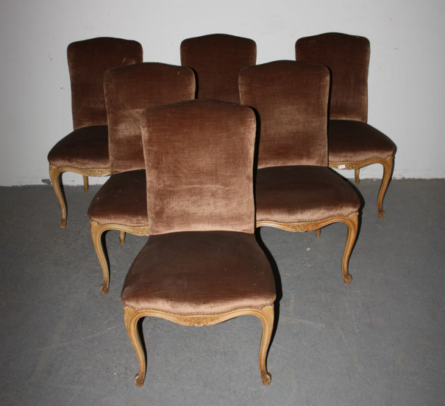 6 FRENCH LOUIS XV UPHOLSTERED PAINTED DINING CHAIRS - For Sale - 6 FRENCH LOUIS XV UPHOLSTERED PAINTED DINING CHAIRS For Sale