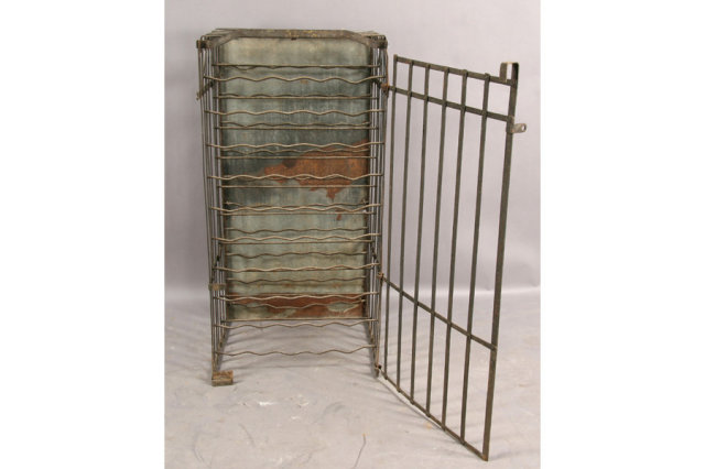 today we offer you a great antique wrought iron wine rack cage with single door perfect designer and boutique item dimensions ht width depth