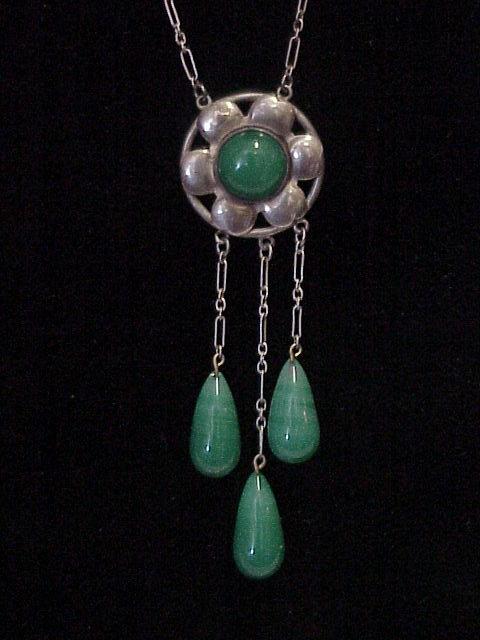 Arts Amp Crafts Sterling Silver Chrysoprase Necklace Pendant
