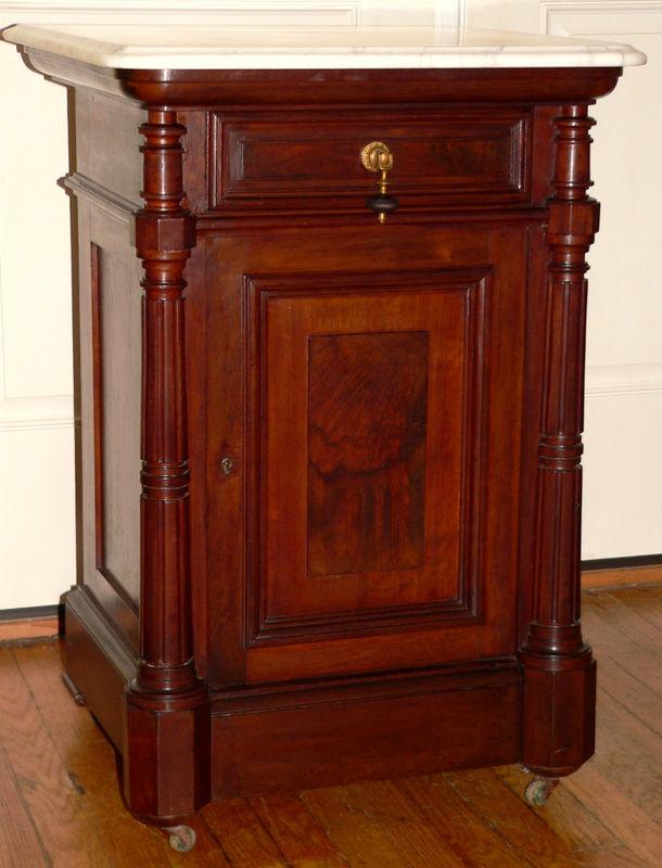 1870 Victorian Stand Burl Walnut Wh Marble Top Column