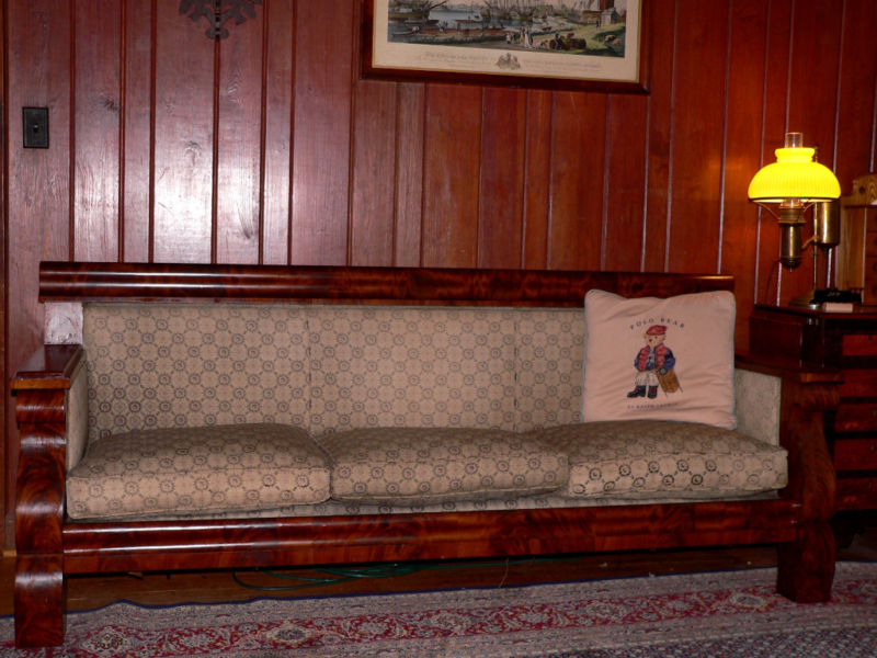 C1840 empire box sofa flame mahogany 81 long for sale for Long couches for sale