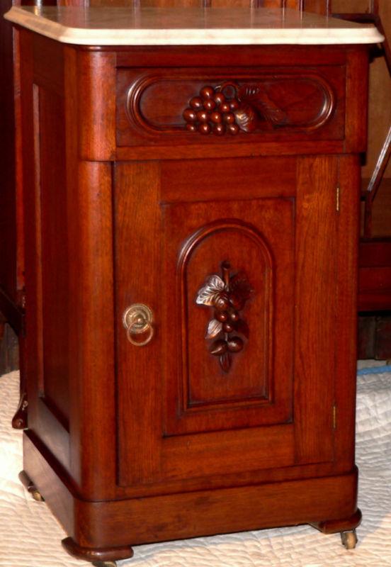 C1870 Victorian Nightstand Walnut Wh Marble Top Grape