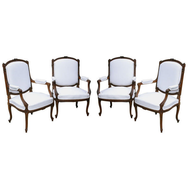 A Beautiful Set Of 4 Louis 15th Style Open Arm Chairs. They Are Beautifully  Carved In Walnut. Circa 1880 Status: For Sale Reference#: F_1_06_12  Condition: ...
