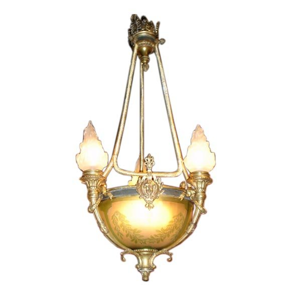 French empire etched glass chandelier for sale antiques a french empire chandelier with green and frosted etched glass bowl with three glass flame covered lights there are 3 lights in the center of the bowl mozeypictures Image collections