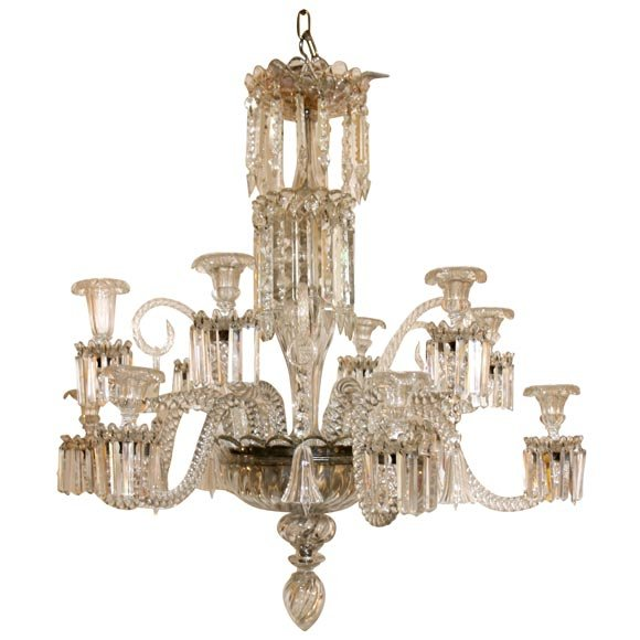 A TWELVE ARM BACCARAT CHANDELIR WITH BELLS AND SCROLLS. IT IS STILL FOR  CANDLES,. Antique Baccarat Chandelier ... - Antique Baccarat Chandelier Antique Furniture