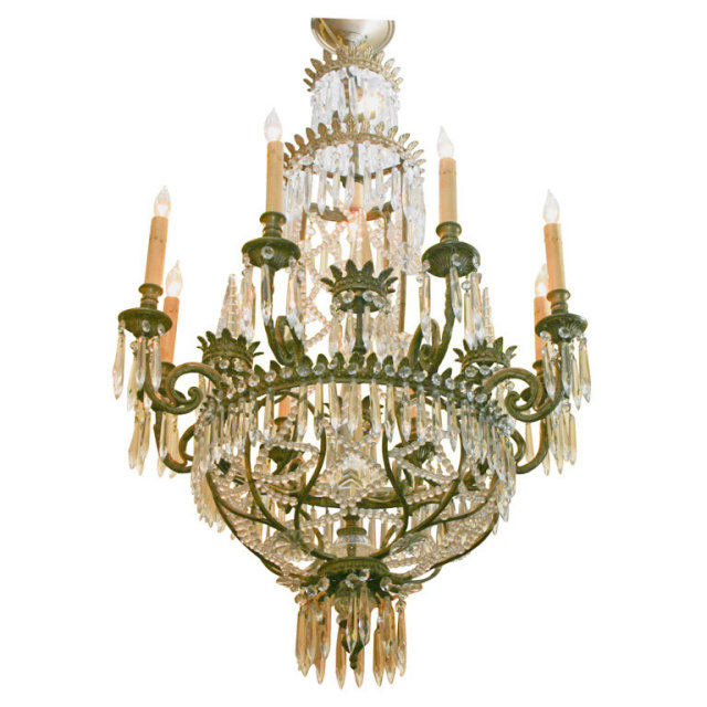 A FRENCH BRONZE EMPIRE STYLE CHANDELIER DECORATED WITH GLASS BEADS, AND  UDROPS. Status: For Sale Reference#: TG_10_08_678 Condition: VERY GOOD  Year: 1920''S ... - FRENCH EMPIRE STYLE BRONZE AND CRYSTAL CHANDELIER For Sale