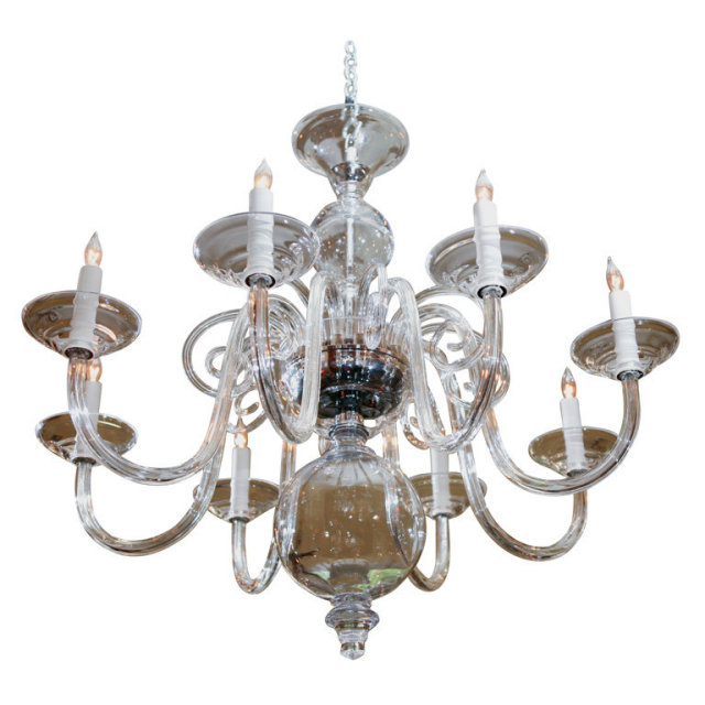 8 arm murano style hand blown glass chandelier for sale Blown glass chandelier