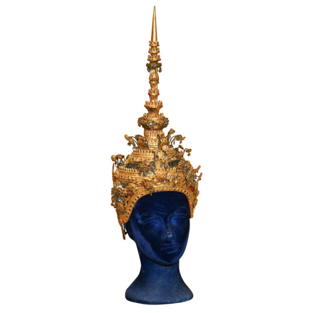 THAILAND CROWN OF CARVED WOOD For Sale | Antiques com