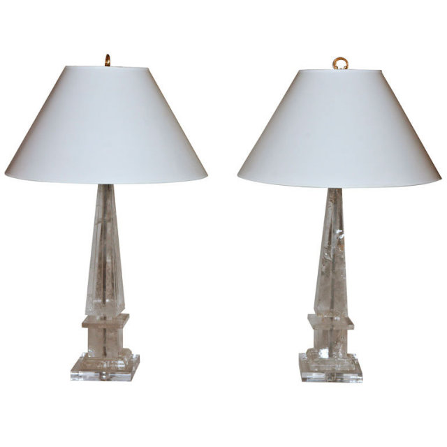 pair of rock crystal obelisk lamps for sale. Black Bedroom Furniture Sets. Home Design Ideas