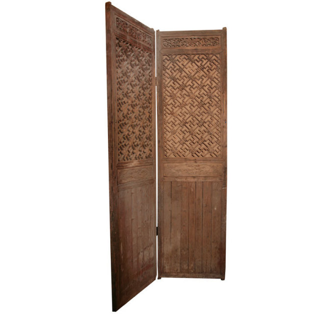 Two chinese carved pine doors screen for sale antiques - Decorative doors for sale ...