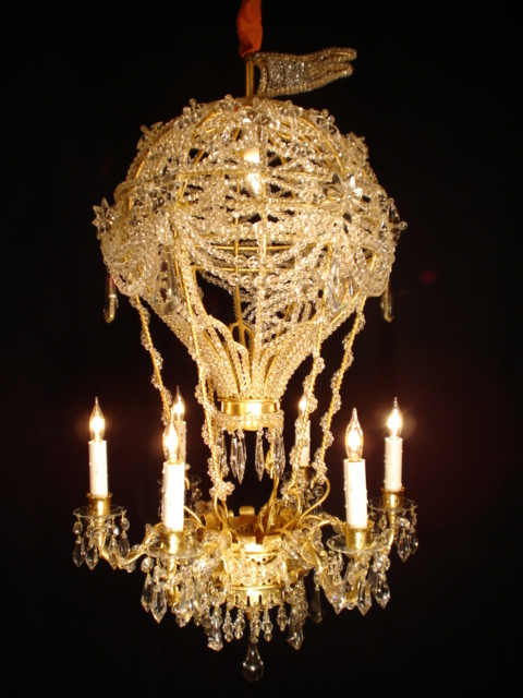Crystal hot air balloon chandelier for sale antiques classifieds this is an original design by ad lib antiques interiors it has seven lights 6 around the outside and one in the center of the balloon mozeypictures Choice Image