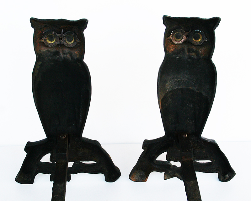 Owl Andirons Item 1152360tb For Sale Antiques Com