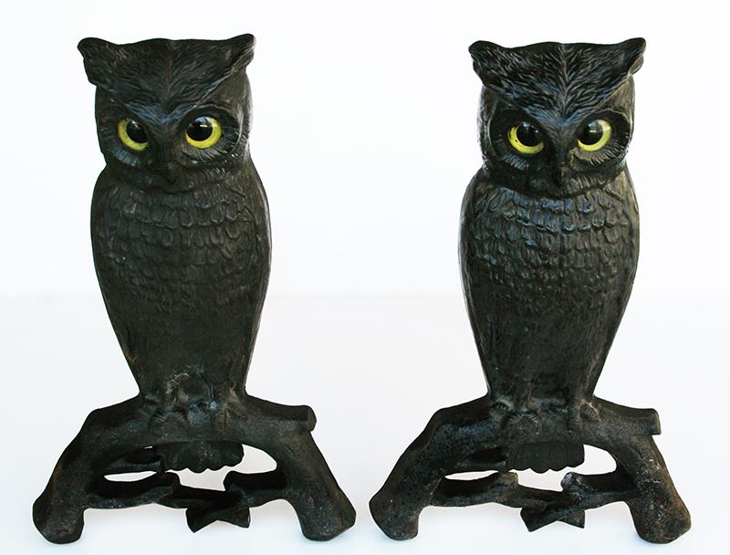 Owl Andirons item #1152360TB For Sale | Antiques.com ...