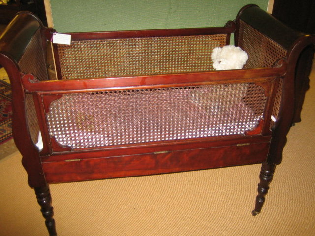 Antique Baby Cribs Vintage Antique Wooden Baby Toy Doll Crib Cradle Bed Enlarge Photo Mesh