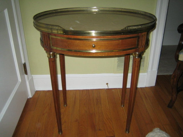 Antique Inlaid Marble Table : Mahogany oval marble top table inlaid with bass for sale