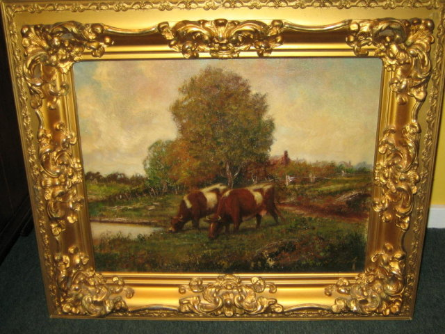 Oil painting of cows in pasture for sale for Canvas art on sale