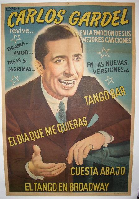 MUSIC GUITAR CARLOS GARDEL FRENCH ARGENTINE SINGER TANGO VINTAGE POSTER REPRO