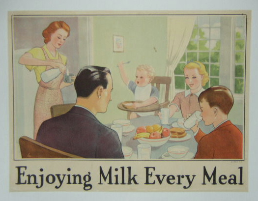 In This Original Circa 1930 Vintage Poster A Family Gathered Around The Dinner Table Enjoys Their Dessert And Milk Is Linen Backed