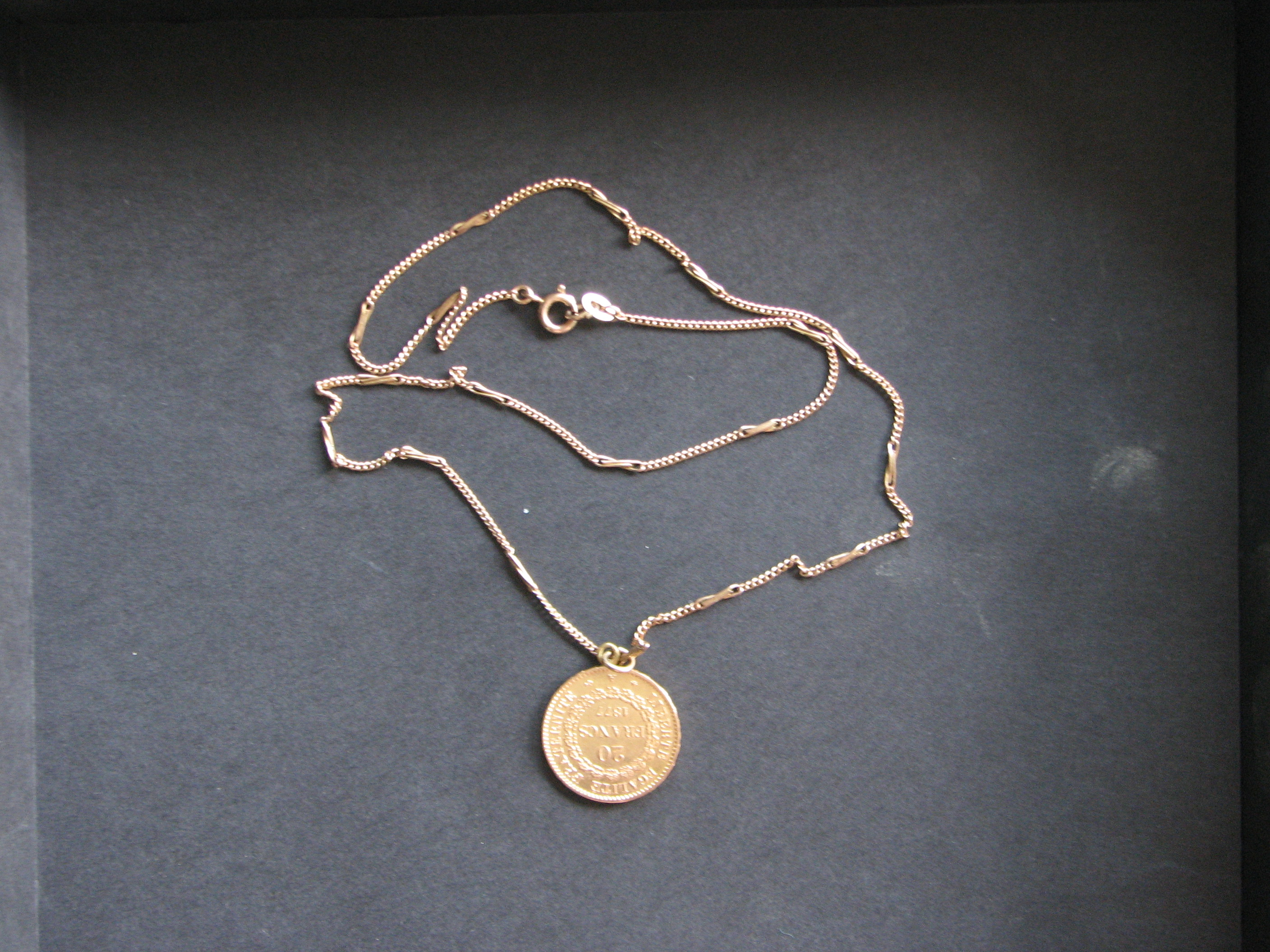 Old Gold Coin France 1670 With Chain For