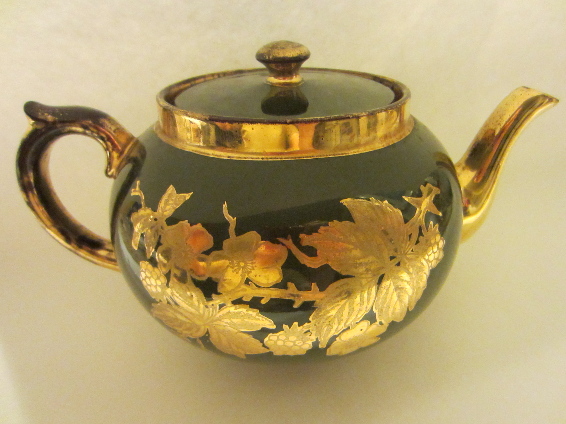 Staffordshire England Teapot Gold Flowers Sage Green