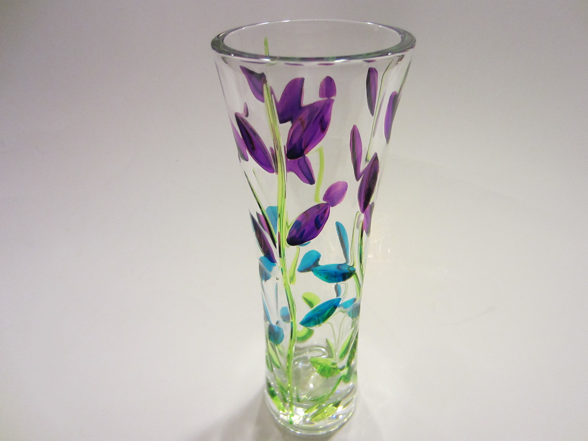 Murano Art Glass Vase With Colored Leaves For Sale