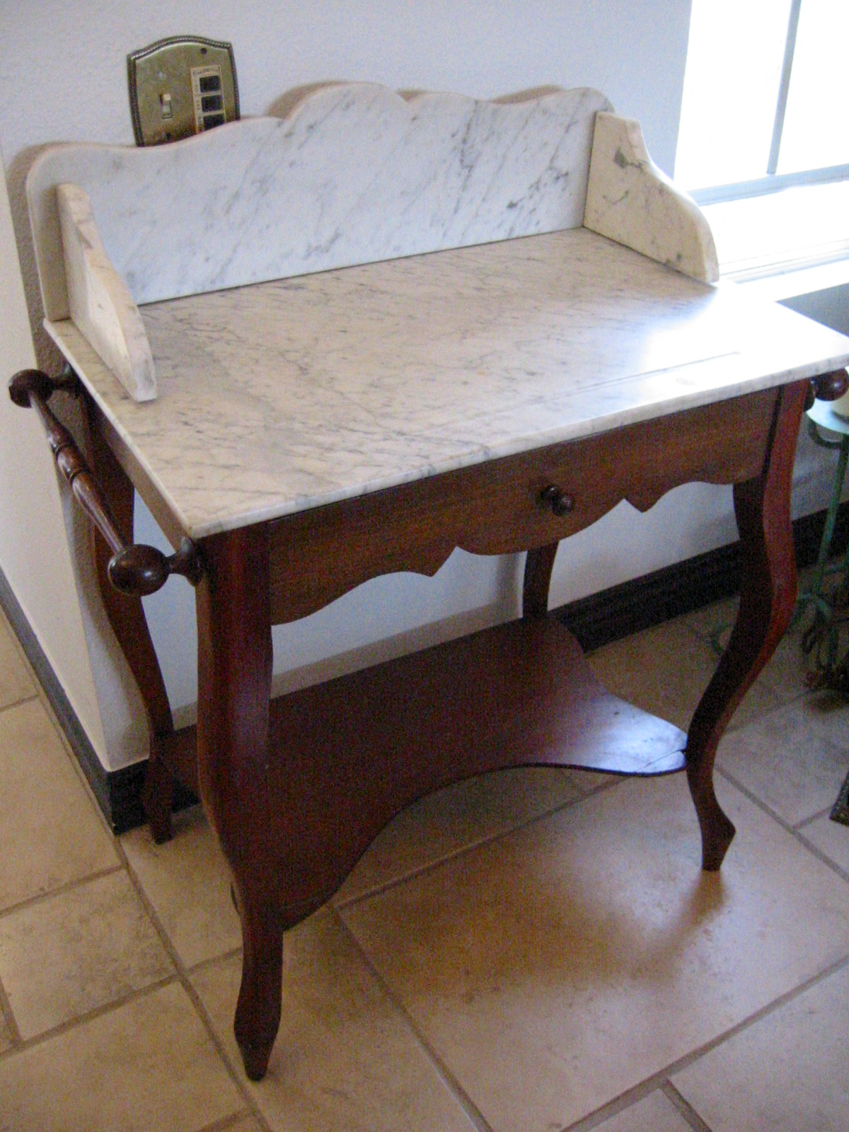 Marble Top Wood Antique Wash Stand For Sale