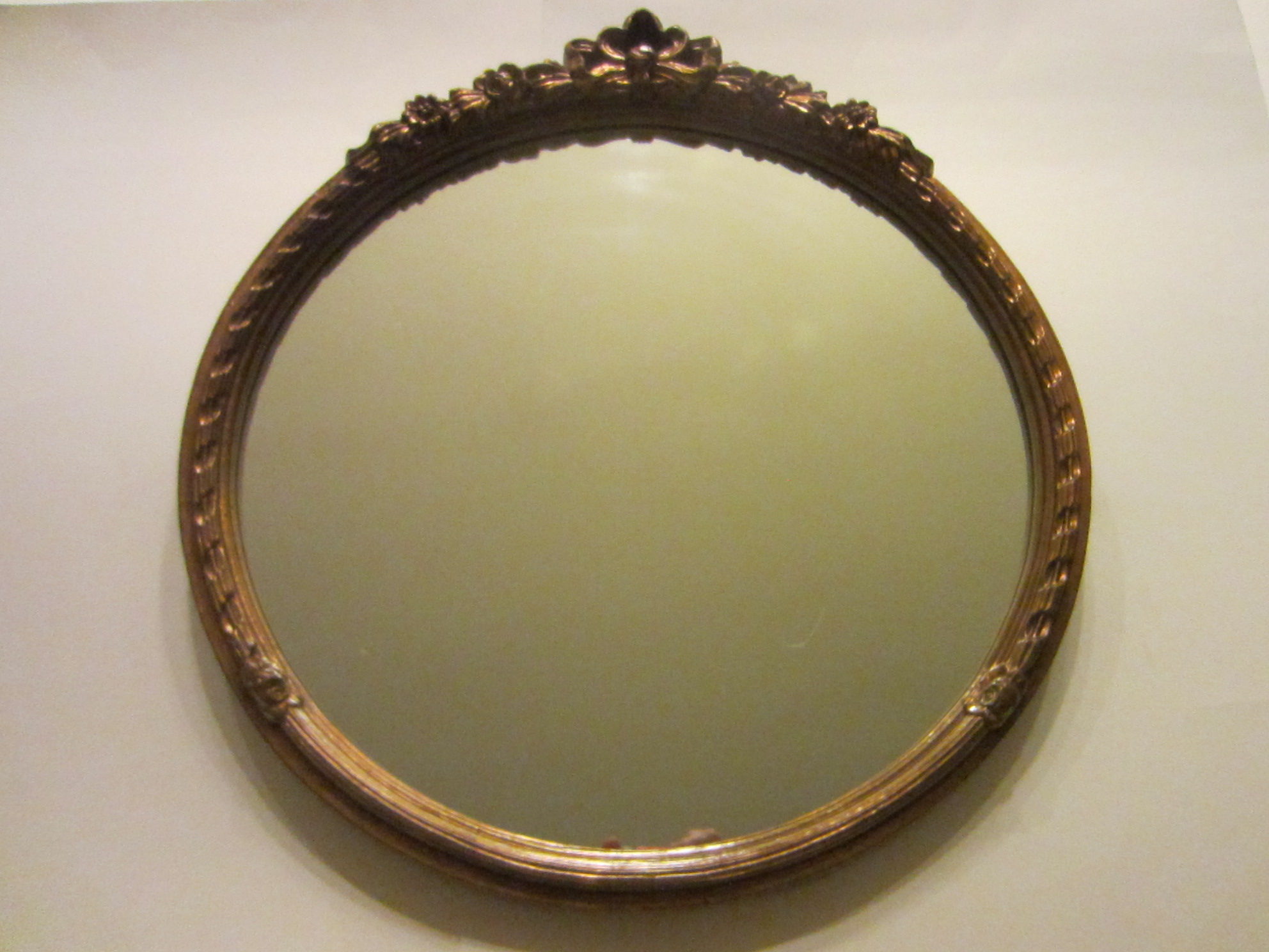 Carolina Mirror Company Round Mirror With Floral Bow Crest