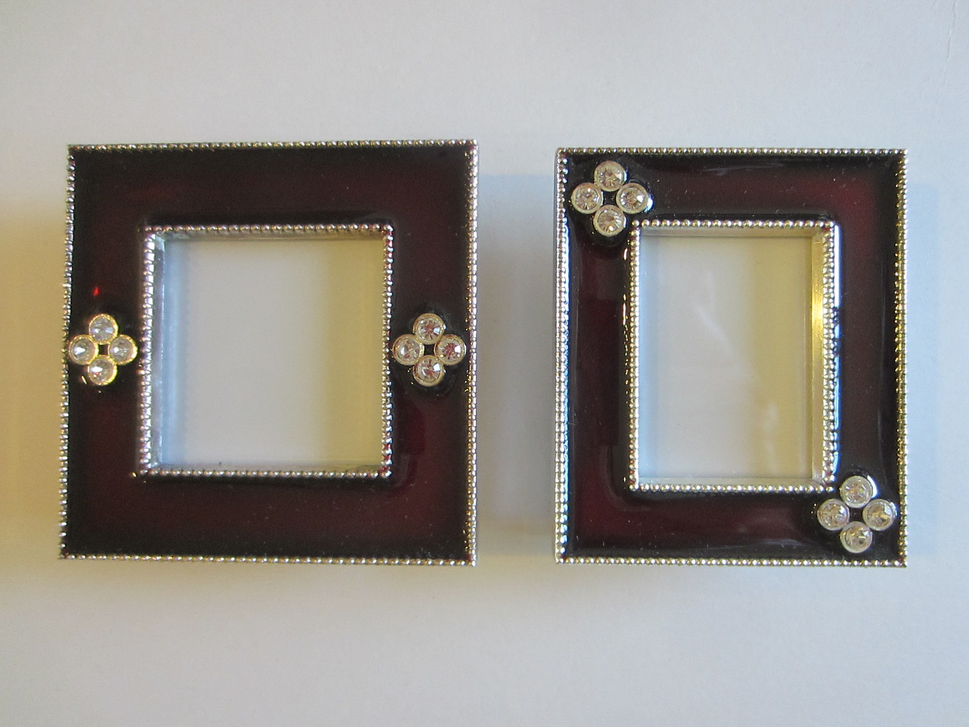 Two Miniature Burgundy Enameled Rhinestones Picture Frames For Sale ...