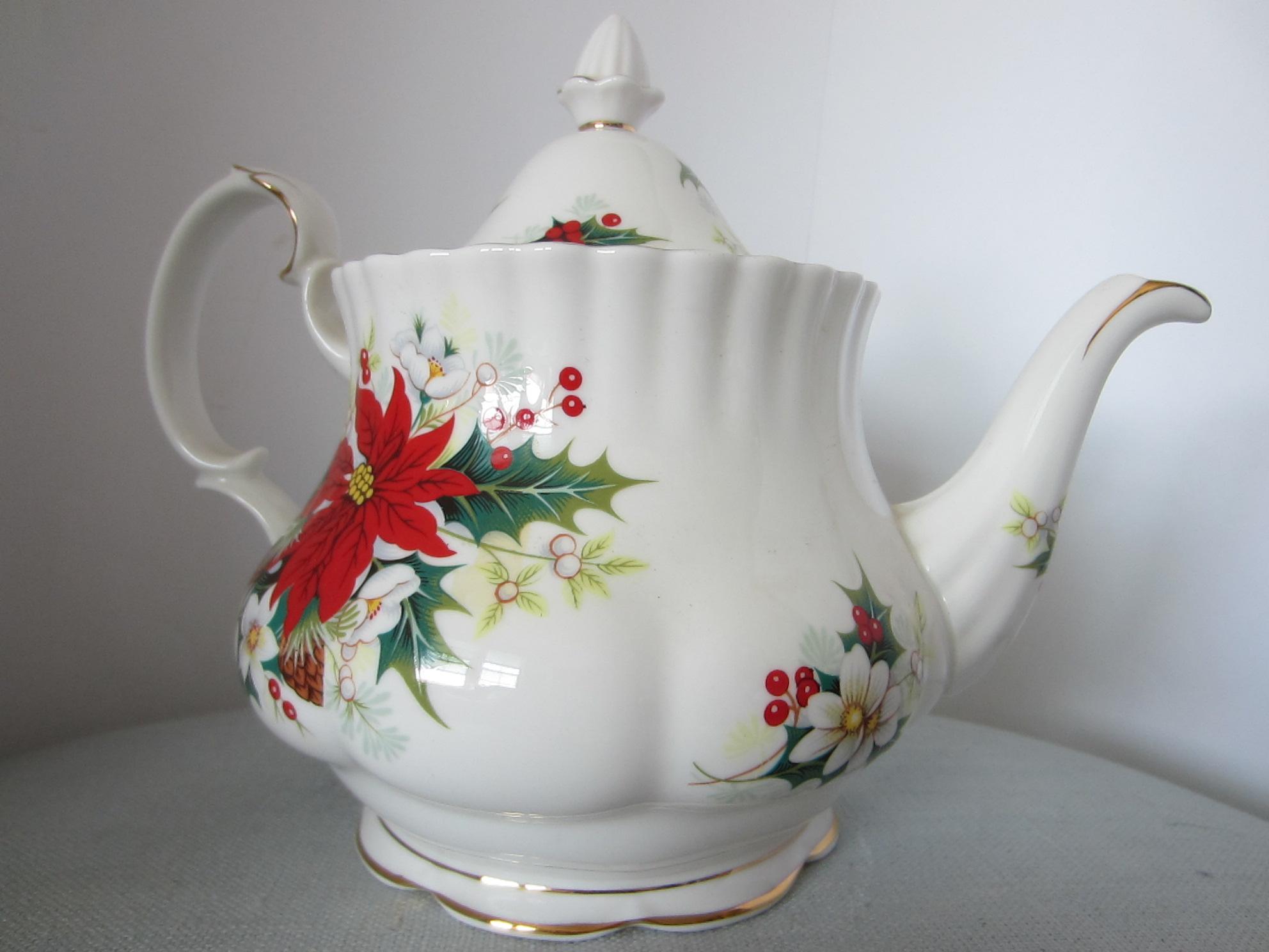 Royal Albert Bone China England Poinsettia Teapot Signed