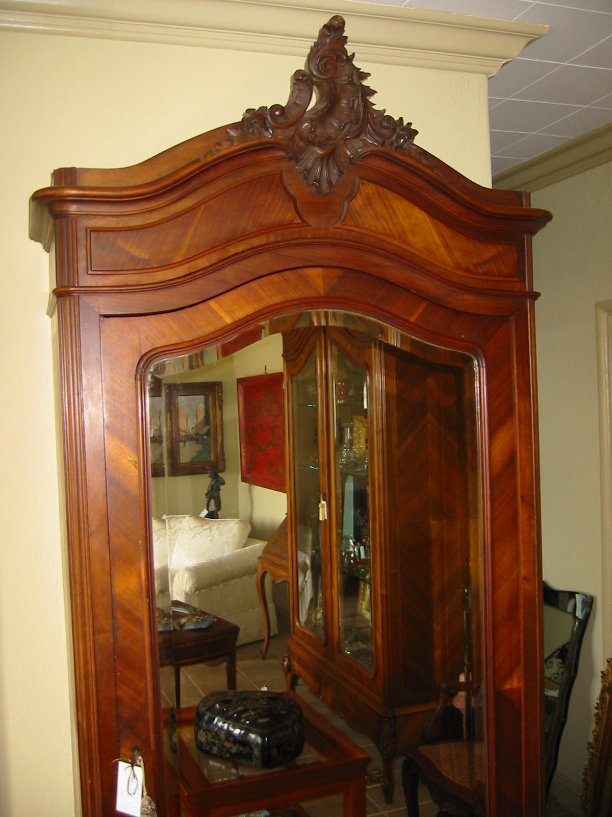 French Mahogany Walnut Wood Mirror Armoire For Sale