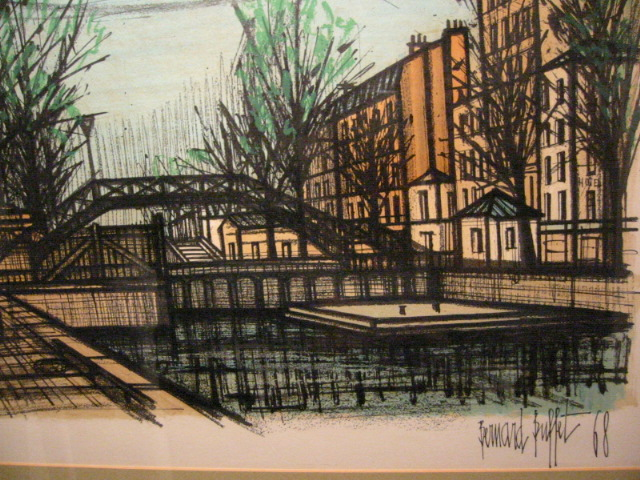 Awesome Bernard Buffet Canal St Martin Mid Century French Lithograph Home Interior And Landscaping Ferensignezvosmurscom