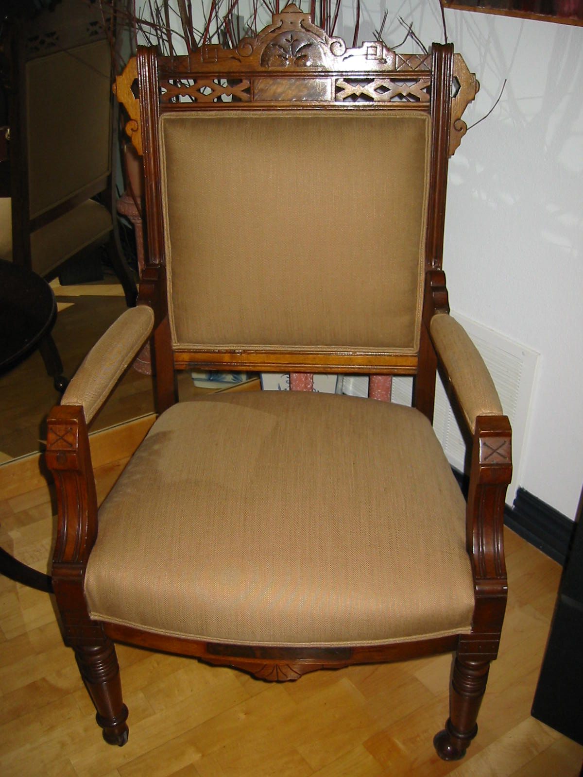 Antique arm chair, incredible carving, geometric design, details, crown,  Empire crest in motif, updated soft chocolate Textile upholstery. wooden  nails. ... - Empire Crest Antique Wood Arm Chair For Sale Antiques.com