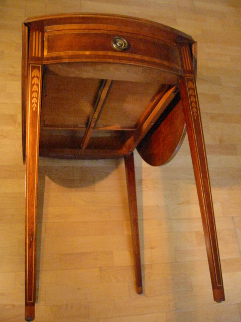 Pembroke Drop Leaf Table Genuine Mahogany Brass Accent