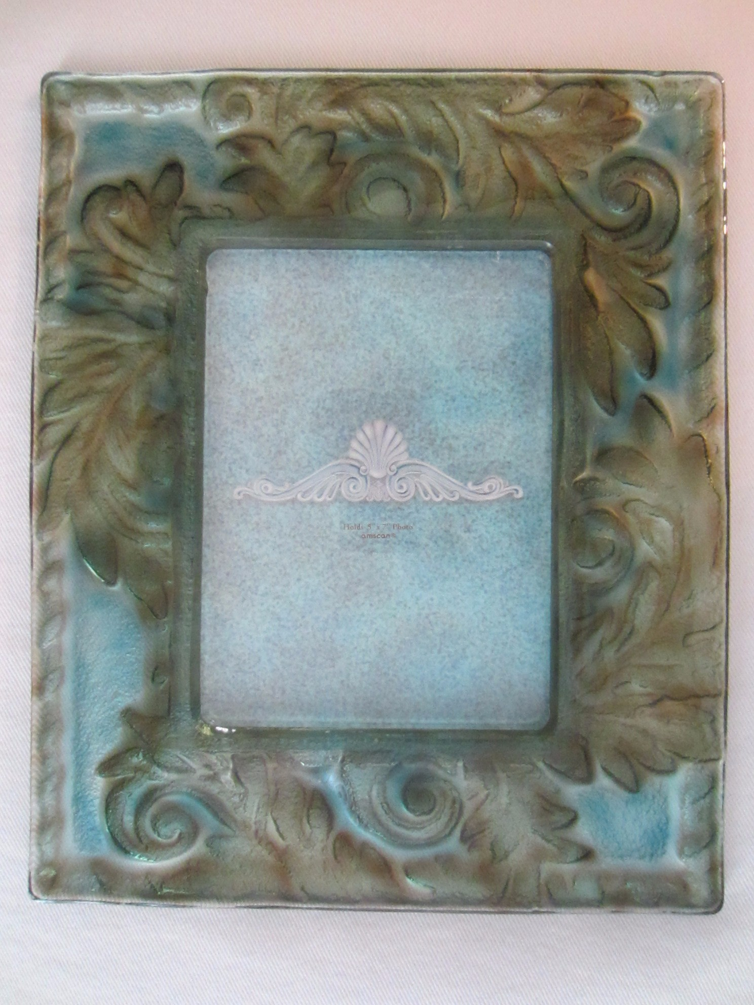 contemporary green blue glass picture frame for sale