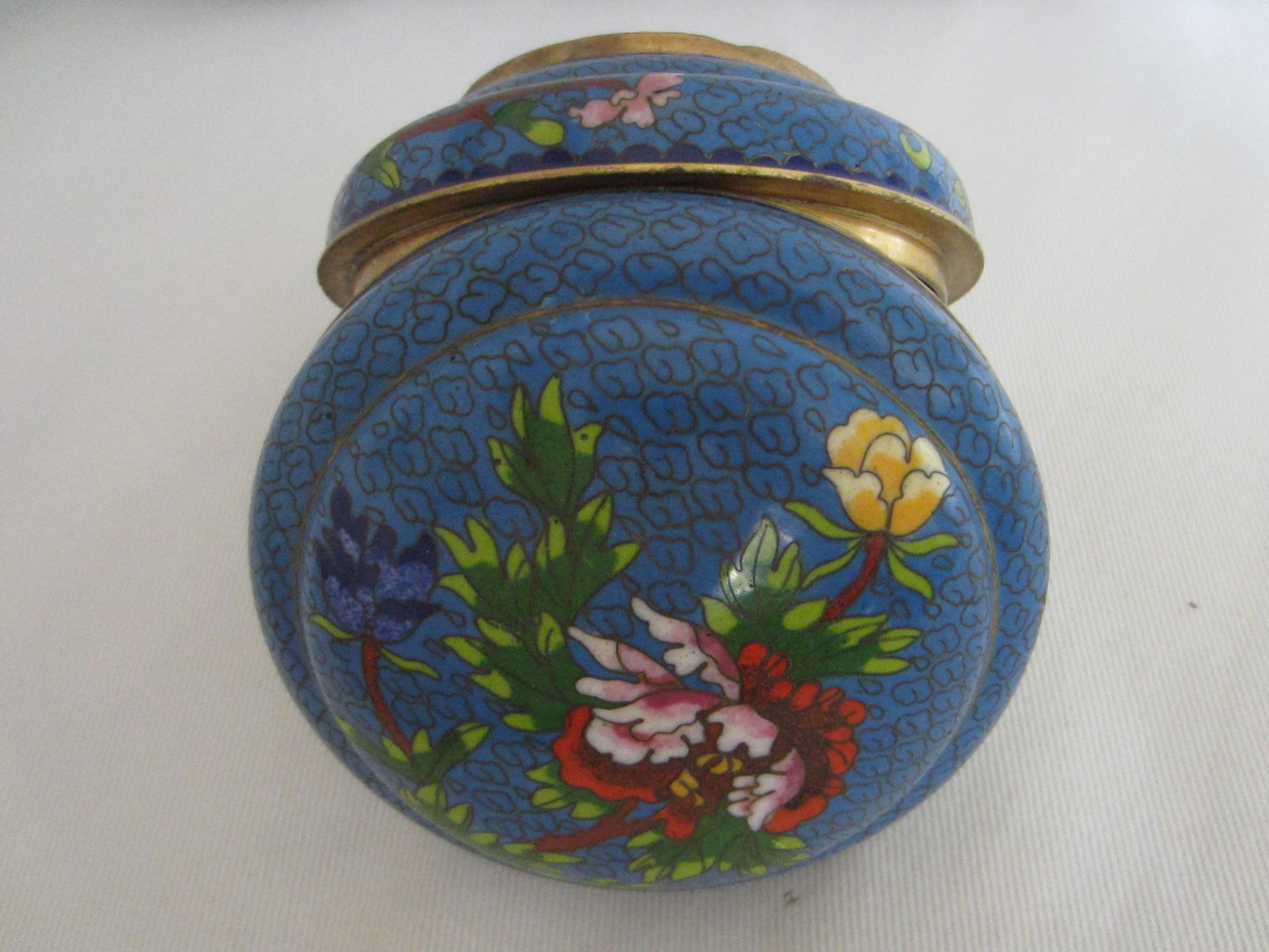 asian blue cloisonne round covered box for sale antiques. Black Bedroom Furniture Sets. Home Design Ideas