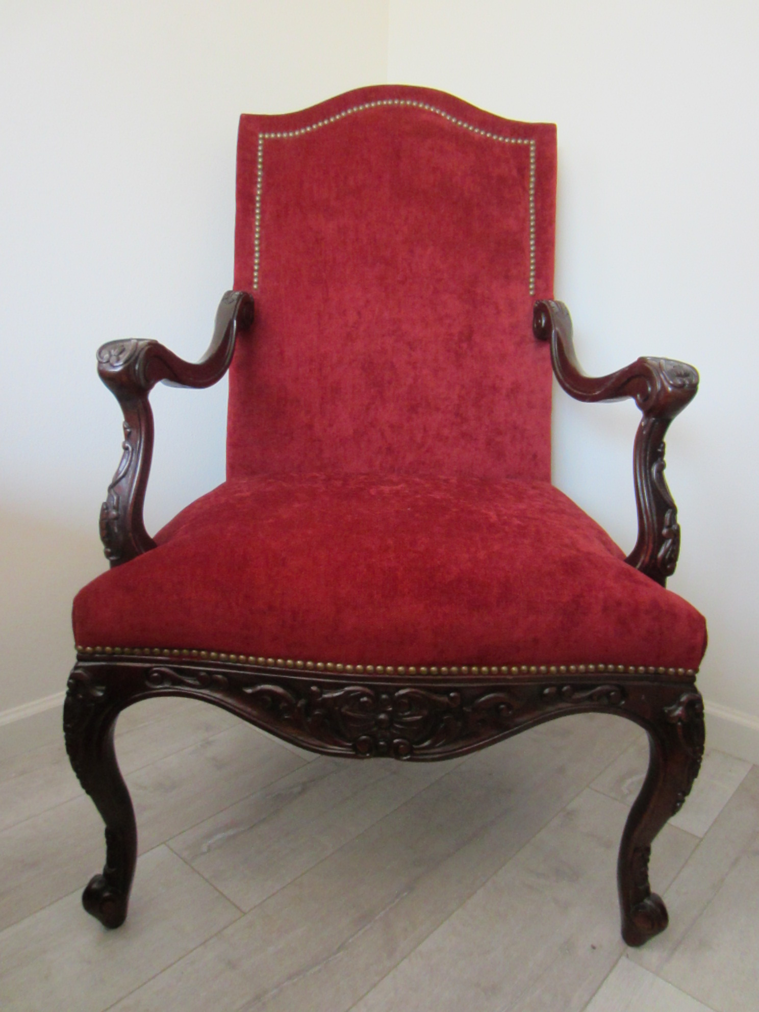 Colonial Style Red Textile Dark Wood High Back Arm Chair ...