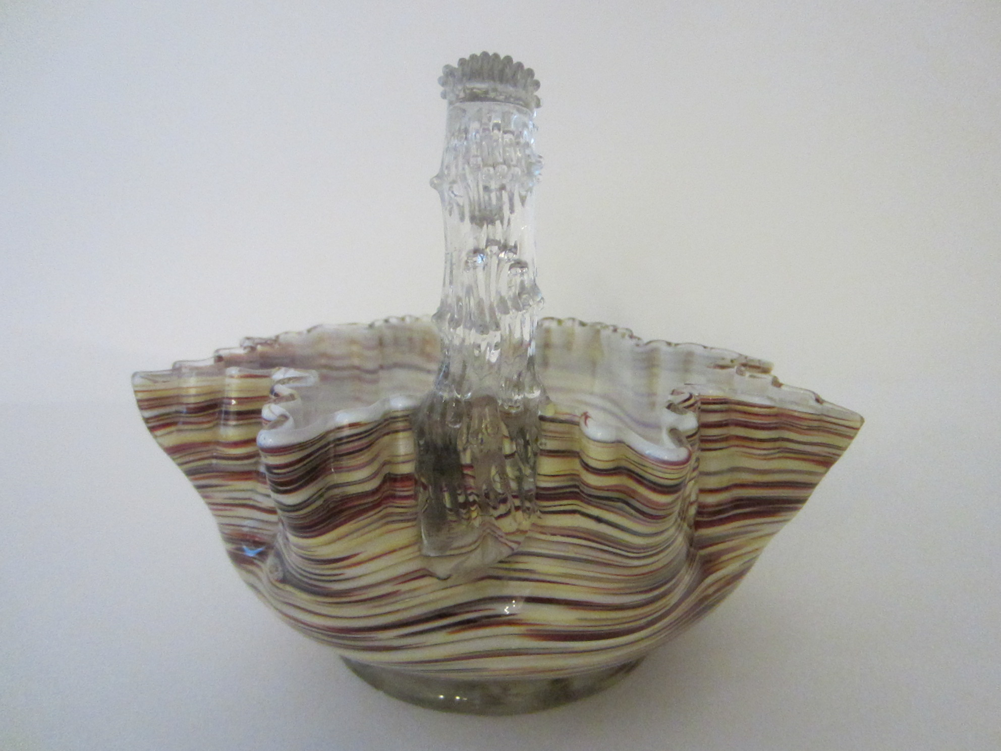 Art Baskets For Sale : Art glass basket applied thorn style handle white interior