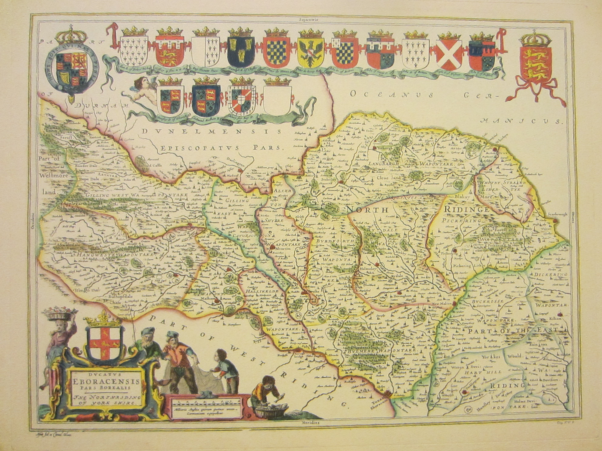 Yorkshire North Riding Map Elaborated Hand Decorated Art By Blaeu - Decorative maps for sale